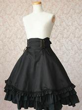 Gothic Lolita Dress SK Military Style Black Ruffles Cotton High Waist Lolita Skirts