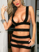 Black Sexy Lace Polyester Chemise for Women