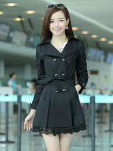 Black Cotton Blend Dress Coat For Woman