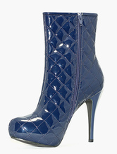 Women's Winter Boots Blue Platform Booties Zipper High Heel Quilted Boots