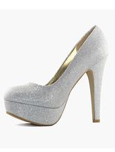 Platform wedding shoes silver high heel bridal pumps glitter party shoes