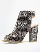 Heel sandal boots peep women's snake printed high heel open back shoes