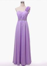 Lilac One Shoulder Chiffon Bridesmaid Dress for Woman
