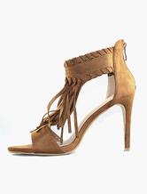 High heel sandals tassle women's bohemian suede heel shoes