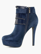 Women's Ankle Boots Blue High Heel Booties Platform Heels Tassel Suede Winter Boots