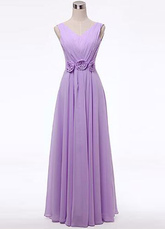 Lilac Flowers Chiffon Bridesmaid Dress for Woman