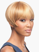 Anime Costumes AF-S2-559461 Women's Blonde Human Wigs In Straight Boycuts Bobs