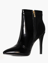 Women's Ankle Boots Leather Black Booties High Heel Pointed Winter Boots