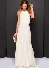 Largo Vestido de Dama de Honor 2020 Blanco Chifón Plisado Halter Women Longitud de Piso Falda Maxi