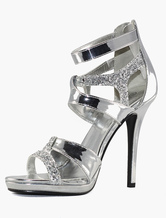 Silver wedding shoes high heel bridal sandals women's glitter heel party shoes