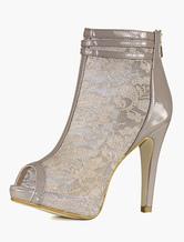 High Heels Stiefeletten Spitze Peeptoes mit Reißverschluss