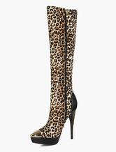 Stivali al ginocchio tendenza stampa di leopardo con decori in metallo 14cm a punta Tessuto Inverno