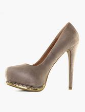 Scarpe Pumps con tacchi alti plateau catena dorata di pelle scamosciata per donna