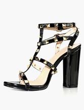 Heel Spike Sandals black rivets women's high heel chunky shoes