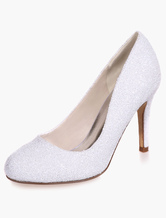 White Wedding Shoes Sequined Round Toe Stiletto Heel Slip on Bridal Shoes High Heel Evening Shoes