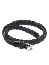 Black Leather Braided Belt For Women