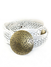 Vintage White Braided Belt For Women With Metal Buckle
