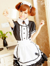Anime Costumes AF-S2-560287 Halloween Black Short Sleeve Polyester French Maid Costume For Women
