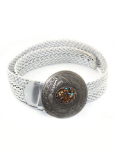 White Braided Women's Belt With Metal Buckel And Turquoise