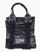 Vintage Black Handbag Designer Shouder Bag With Rivets And Fringes In Bohemian Style