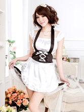 Anime Costumes AF-S2-560273 Halloween White Halter Polyester French Maid Costume For Women