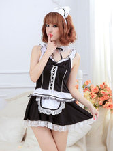 Anime Costumes AF-S2-560281 Halloween Black Sexy Halter Polyester French Maid Costume For Women