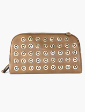 Brown Clutch Bag Designer Punk Shouder Bag With Eyelets