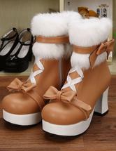 Lolitashow Leichte Bräune PU Lolita Heel Stiefel für Mädchen