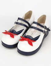 Deep Blue PU Party Lolita Shoes for Girls