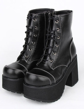 Lolitashow Black PU Leather Lolita Heel Boots for Girls