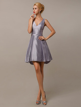 Silver Gray Bridesmaid Dresses V Neck Taffeta Short Bridesmaid Dress Milanoo