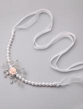 Weiße Perlen Braut Hochzeit Sash