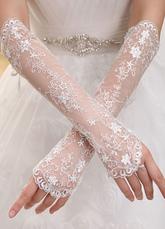 Luvas de casamento marfim tule sem dedos