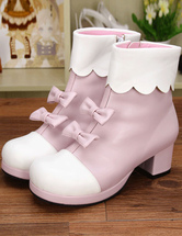 Lolitashow Leichte rosa PU Lolita Heel Stiefel für Mädchen