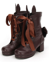 Lolitashow Coffee Brown Lolita Short Boots Square Heels Lace Up Bunny Ear Decor