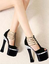 Black High Heels Women Sexy Shoes Peep Toe Platform Sky High Strappy Sandals
