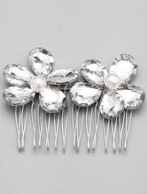 Silver Rhionestone Alloy Wedding Comb