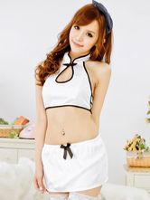 Anime Costumes AF-S2-562173 Halloween White Cropped Sexy Synthetic Cheongsam for Women