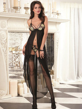 Black Polyester Lace Sexy Dress For Woman