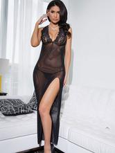 Black Split Sexy Dress Semi-Sheer Polyester Dress For Women
