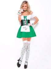 Anime Costumes AF-S2-562959 Halloween Green Off the Shoulder Oktoberfest Beer Girl Costume