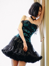 Teal Lace Synthetic Lolita Corset for Women
