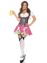 Anime Costumes AF-S2-562971 Halloween Pink Lace Up Polyester Beer Girl Costume