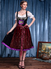 Anime Costumes AF-S2-562997 Halloween Burgundy Oktoberfest Polyester Beer Girl Costume