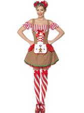Anime Costumes AF-S2-562983 Halloween Light Brown Striped Polyester Beer Girl Costume