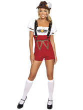 Anime Costumes AF-S2-562973 Halloween Red Oktoberfest Polyester Beer Girl Costume
