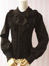Black Chiffon Gothic Lolita Blouses for Women