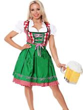 Anime Costumes AF-S2-562945 Halloween Green Oktoberfest Polyester Beer Girl Costume