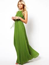 Green Maxi Dress Pleated Long Summer Dress for Women