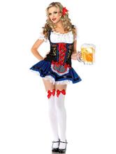 Anime Costumes AF-S2-562961 Halloween Blue Ruffles Oktoberfest Beer Girl Costume